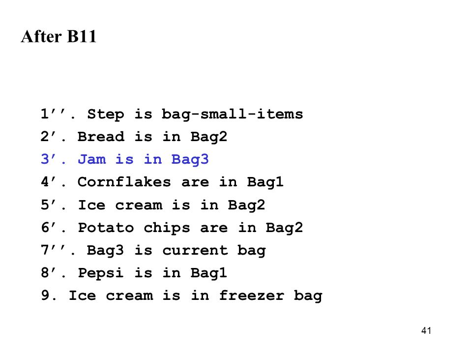41 After B11 1''. Step is bag-small-items 2'. Bread is in Bag2 3'.