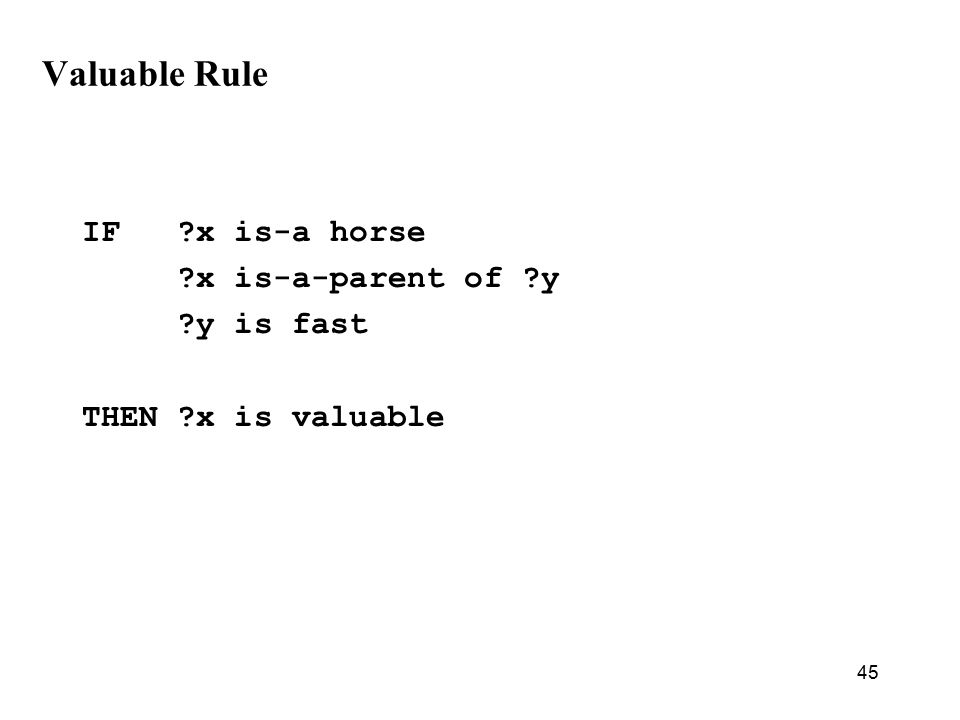 45 Valuable Rule IF x is-a horse x is-a-parent of y y is fast THEN x is valuable