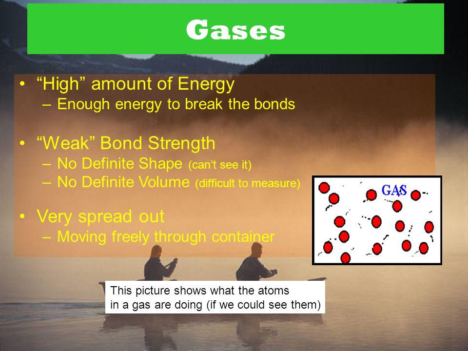 """Liquids """"Medium"""" Energy –Some bonds get broken – but they keep reforming. """"Medium"""" Bond Strength –No Definite Shape (Takes shape of """"container"""") –Defi"""
