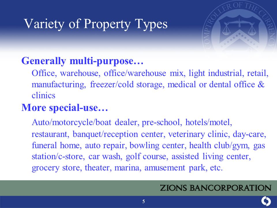 5 Variety of Property Types Generally multi-purpose … Office, warehouse, office/warehouse mix, light industrial, retail, manufacturing, freezer/cold storage, medical or dental office & clinics More special-use … Auto/motorcycle/boat dealer, pre-school, hotels/motel, restaurant, banquet/reception center, veterinary clinic, day-care, funeral home, auto repair, bowling center, health club/gym, gas station/c-store, car wash, golf course, assisted living center, grocery store, theater, marina, amusement park, etc.