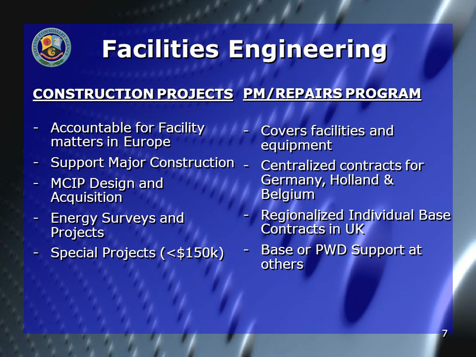 7 CONSTRUCTION PROJECTS - -Accountable for Facility matters in Europe - -Support Major Construction - -MCIP Design and Acquisition - -Energy Surveys a