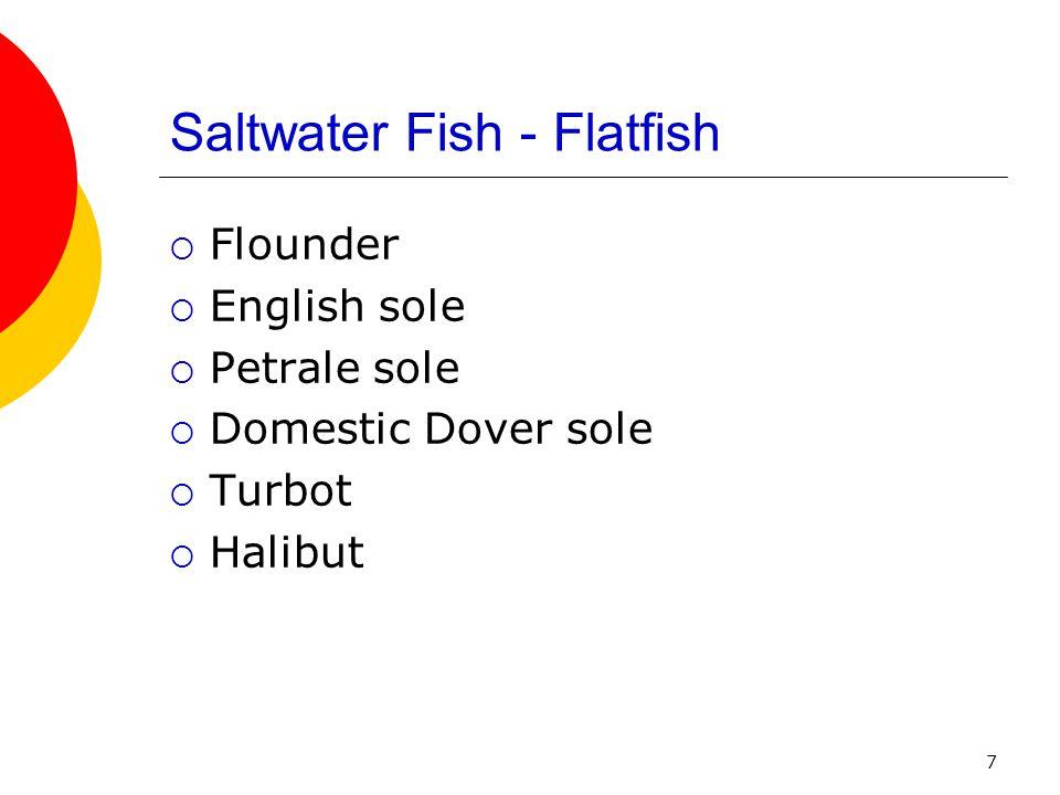 7 Saltwater Fish - Flatfish  Flounder  English sole  Petrale sole  Domestic Dover sole  Turbot  Halibut
