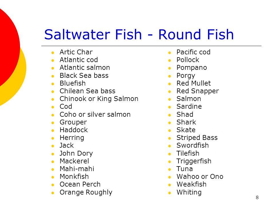 8 Saltwater Fish - Round Fish Artic Char Atlantic cod Atlantic salmon Black Sea bass Bluefish Chilean Sea bass Chinook or King Salmon Cod Coho or silv
