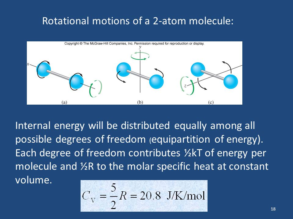 18 Internal energy will be distributed equally among all possible degrees of freedom ( equipartition of energy). Each degree of freedom contributes ½k