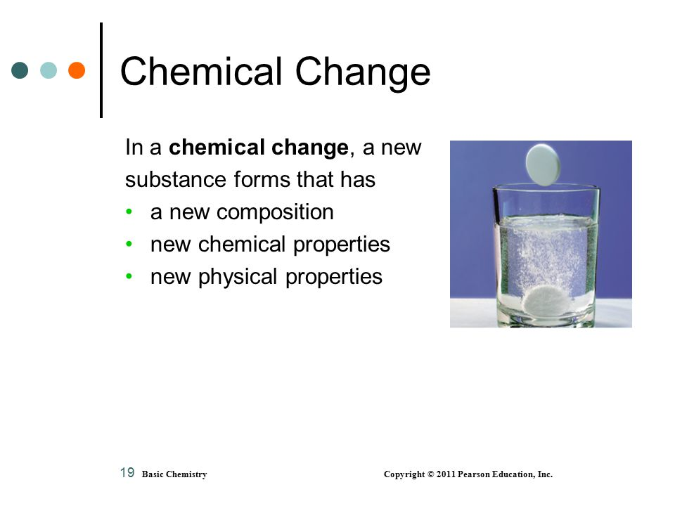 19 Chemical Change In a chemical change, a new substance forms that has a new composition new chemical properties new physical properties Basic Chemistry Copyright © 2011 Pearson Education, Inc.