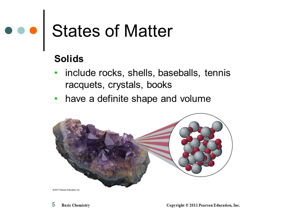 5 States of Matter Solids include rocks, shells, baseballs, tennis racquets, crystals, books have a definite shape and volume Basic Chemistry Copyright © 2011 Pearson Education, Inc.