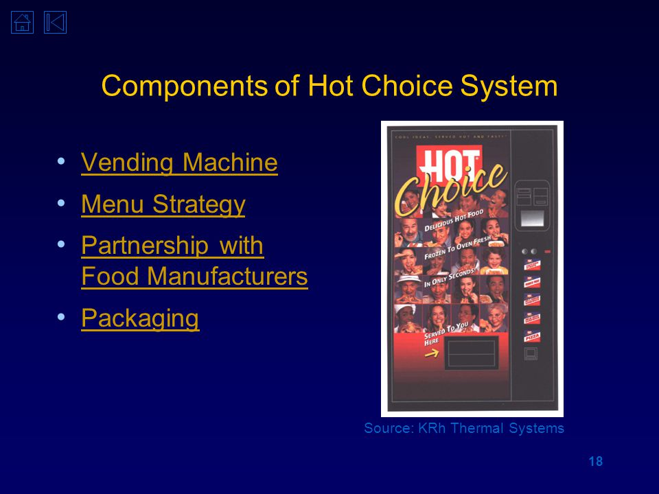 18 Components of Hot Choice System Vending Machine Menu Strategy Partnership with Food Manufacturers Partnership with Food Manufacturers Packaging Source: KRh Thermal Systems