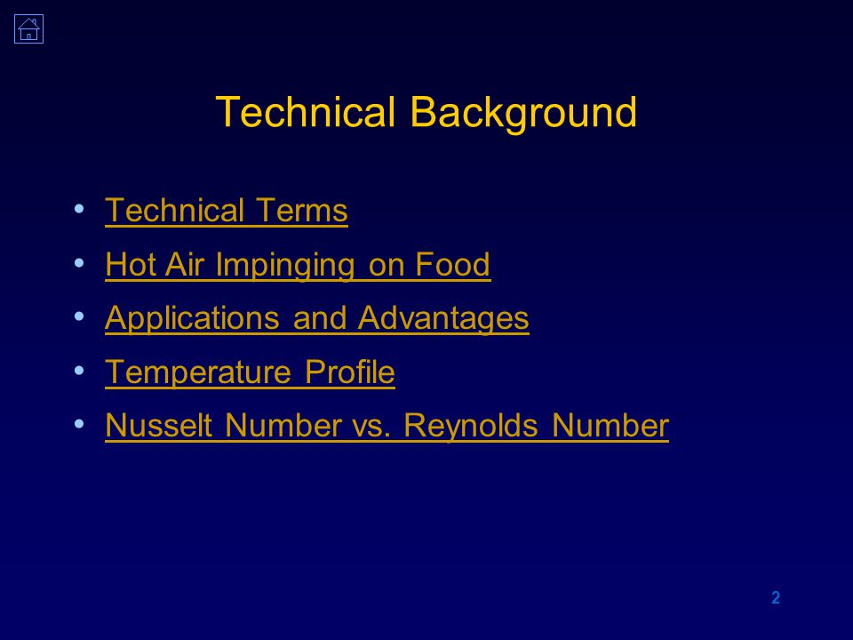 3 Technical Terms Jet impingement technology Technology in which jets of gas or liquid are made to impinge on a desired product for faster heat transfer or faster chemical reactions Jet impingement oven Device used for baking and drying of food materials using jets of hot air at velocities (20-40 m/s) to impinge on the product Jet-impingement Microwave (JIM) Oven Ovens operated in jet-impingement mode and microwave mode either individually or in combination.