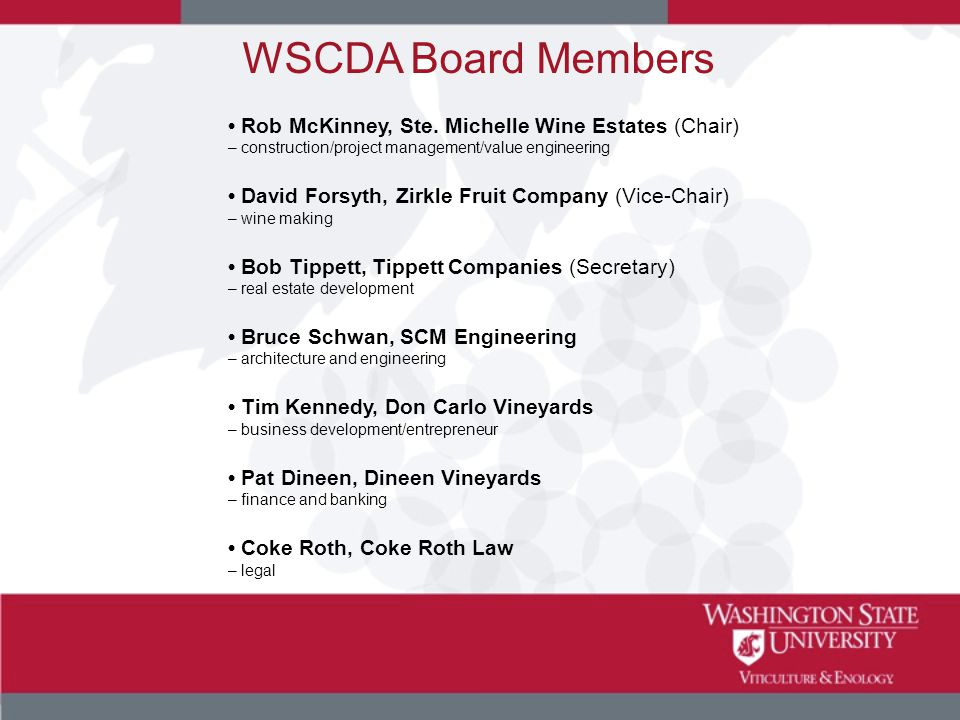 WSCDA Board Members Rob McKinney, Ste. Michelle Wine Estates (Chair) – construction/project management/value engineering David Forsyth, Zirkle Fruit C