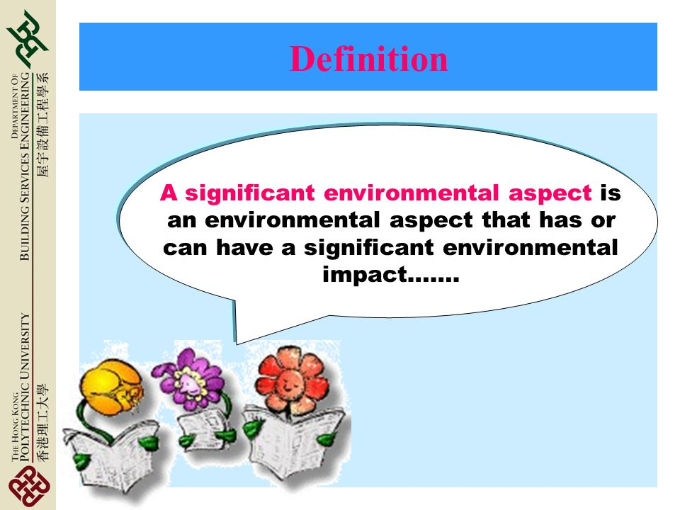 Definition A significant environmental aspect is an environmental aspect that has or can have a significant environmental impact…….