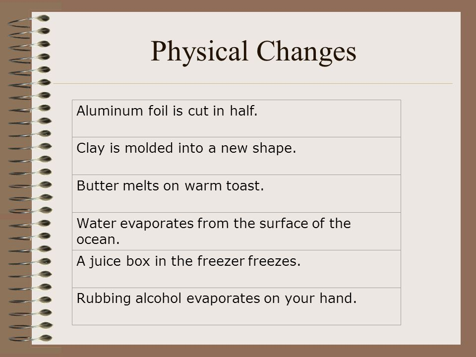 Physical Changes Aluminum foil is cut in half. Clay is molded into a new shape. Butter melts on warm toast. Water evaporates from the surface of the o
