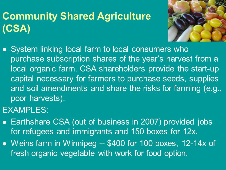 Community Shared Agriculture (CSA) System linking local farm to local consumers who purchase subscription shares of the year's harvest from a local organic farm.
