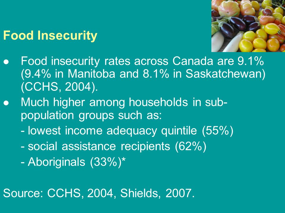Food Insecurity Food insecurity rates across Canada are 9.1% (9.4% in Manitoba and 8.1% in Saskatchewan) (CCHS, 2004). Much higher among households in