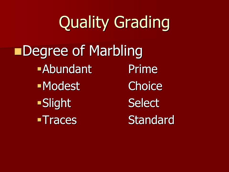 Quality Grading Degree of Marbling Degree of Marbling  AbundantPrime  ModestChoice  SlightSelect  TracesStandard
