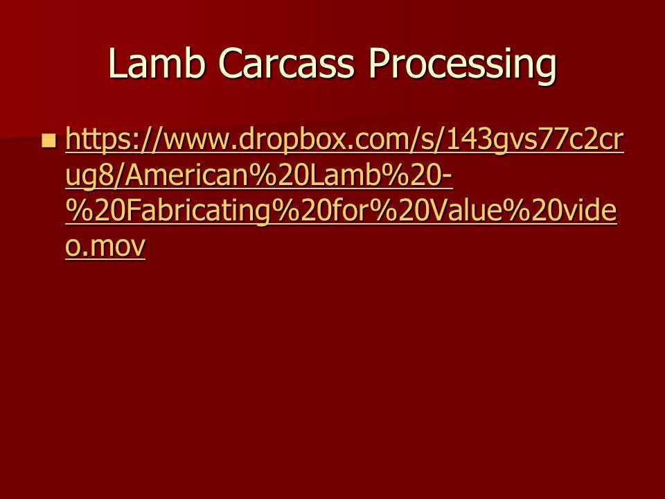 Lamb Carcass Processing https://www.dropbox.com/s/143gvs77c2cr ug8/American%20Lamb%20- %20Fabricating%20for%20Value%20vide o.mov https://www.dropbox.c