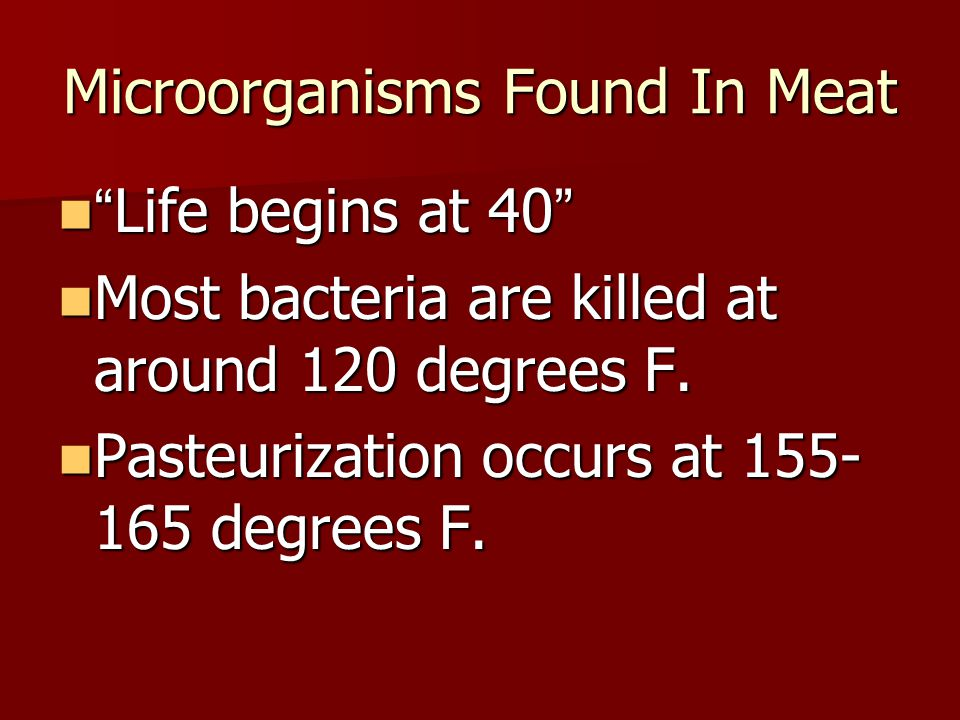 Microorganisms Found In Meat Life begins at 40 Life begins at 40 Most bacteria are killed at around 120 degrees F.