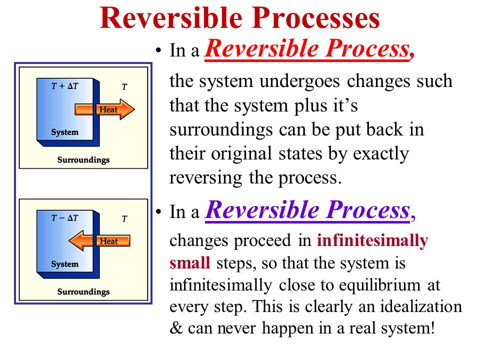 Reversible Processes In a Reversible Process, the system undergoes changes such that the system plus it's surroundings can be put back in their original states by exactly reversing the process.