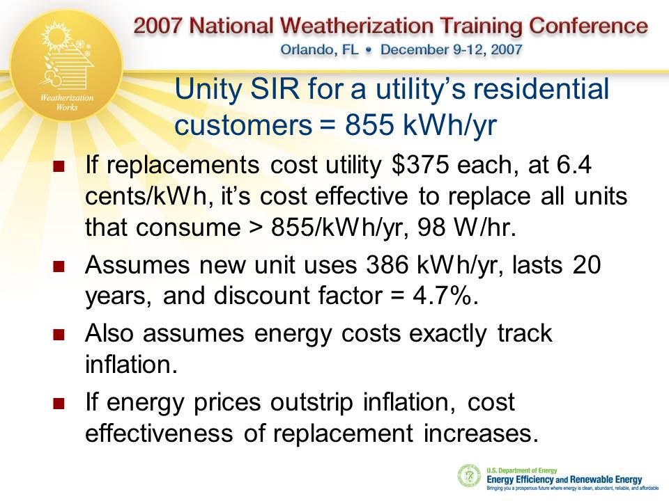 Unity SIR for a utility's residential customers = 855 kWh/yr If replacements cost utility $375 each, at 6.4 cents/kWh, it's cost effective to replace all units that consume > 855/kWh/yr, 98 W/hr.