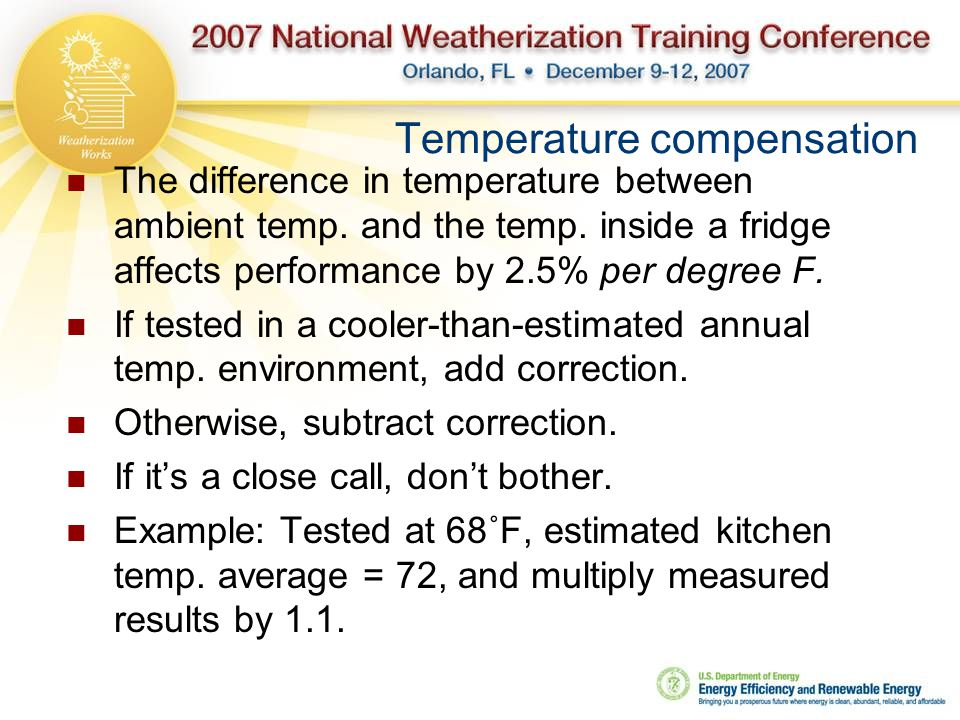 Temperature compensation The difference in temperature between ambient temp.