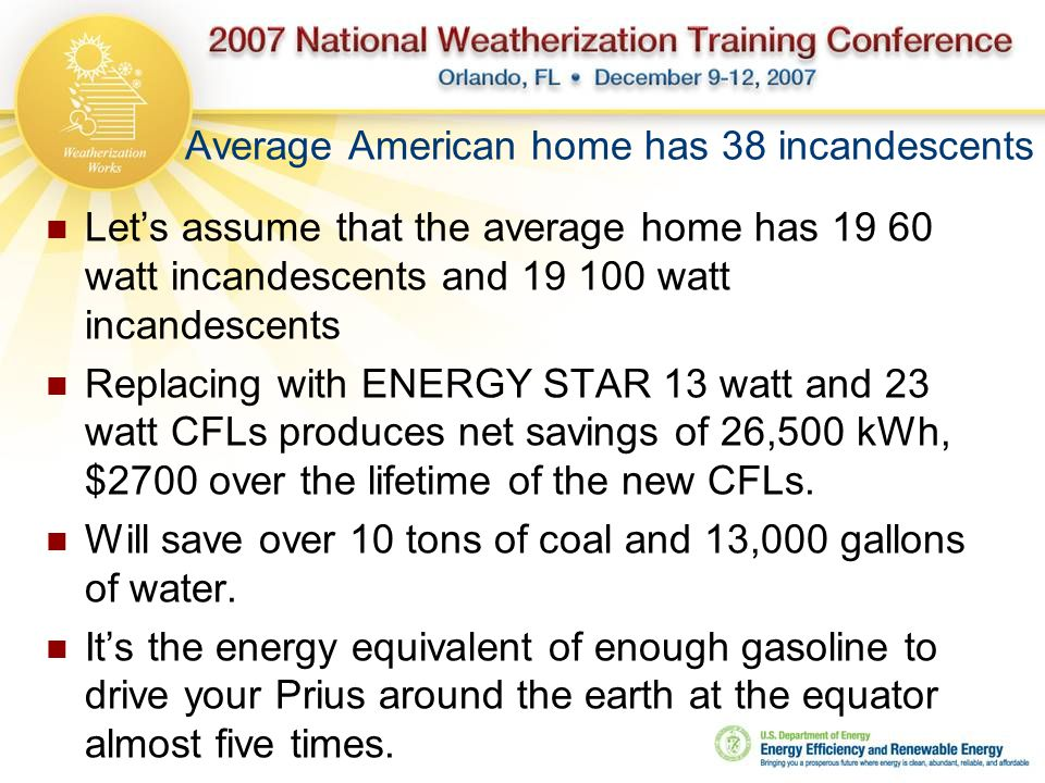 Average American home has 38 incandescents Let's assume that the average home has 19 60 watt incandescents and 19 100 watt incandescents Replacing with ENERGY STAR 13 watt and 23 watt CFLs produces net savings of 26,500 kWh, $2700 over the lifetime of the new CFLs.