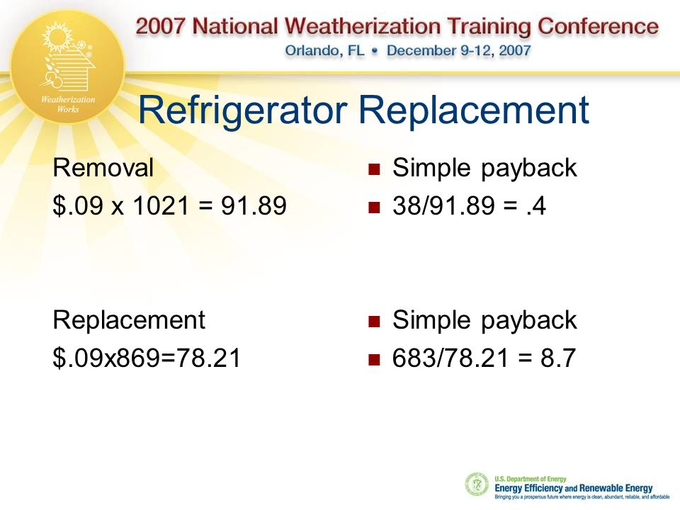 Refrigerator Replacement Removal $.09 x 1021 = 91.89 Replacement $.09x869=78.21 Simple payback 38/91.89 =.4 Simple payback 683/78.21 = 8.7