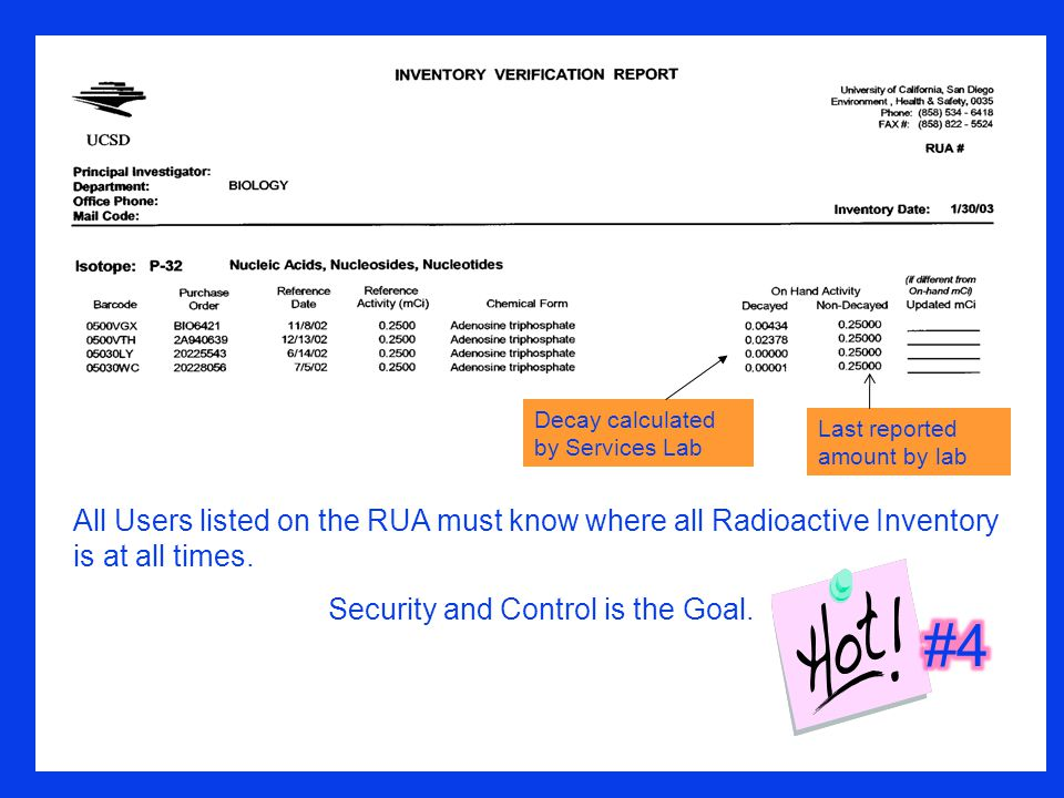 Decay calculated by Services Lab Last reported amount by lab All Users listed on the RUA must know where all Radioactive Inventory is at all times.