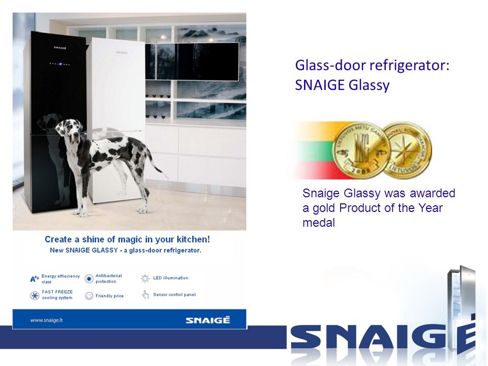 Glass-door refrigerator: SNAIGE Glassy Snaige Glassy was awarded a gold Product of the Year medal
