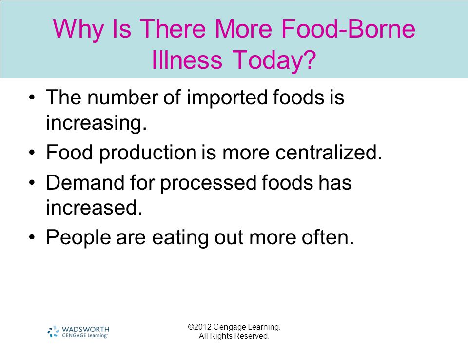 ©2012 Cengage Learning. All Rights Reserved. Why Is There More Food-Borne Illness Today? The number of imported foods is increasing. Food production i
