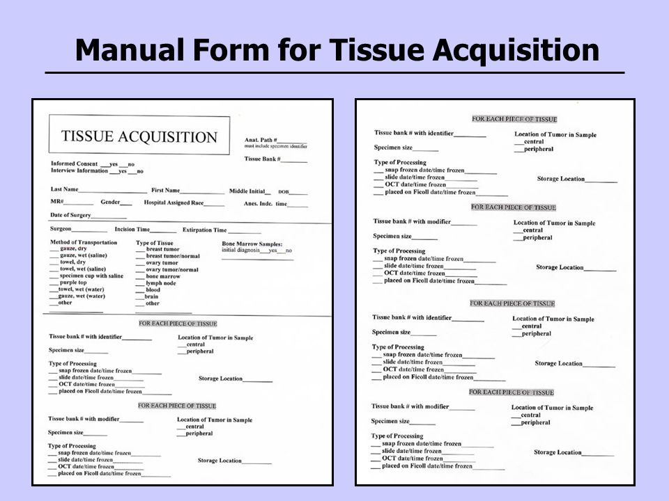 Manual Form for Tissue Acquisition