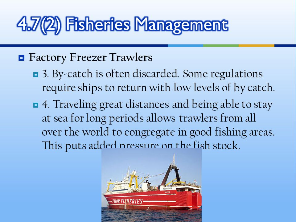  Factory Freezer Trawlers  3. By-catch is often discarded.