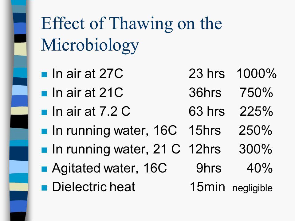 Effect of Thawing on the Microbiology n In air at 27C 23 hrs 1000% n In air at 21C 36hrs 750% n In air at 7.2 C 63 hrs 225% n In running water, 16C 15hrs 250% n In running water, 21 C 12hrs 300% n Agitated water, 16C 9hrs 40% n Dielectric heat 15min negligible