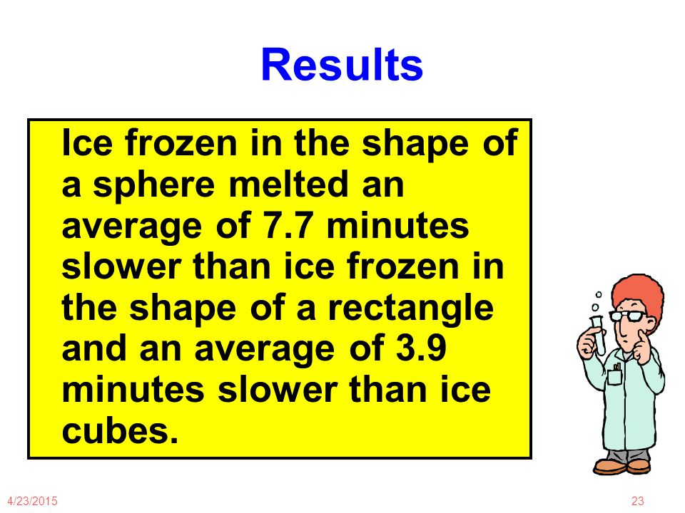 4/23/201523 Results Ice frozen in the shape of a sphere melted an average of 7.7 minutes slower than ice frozen in the shape of a rectangle and an average of 3.9 minutes slower than ice cubes.
