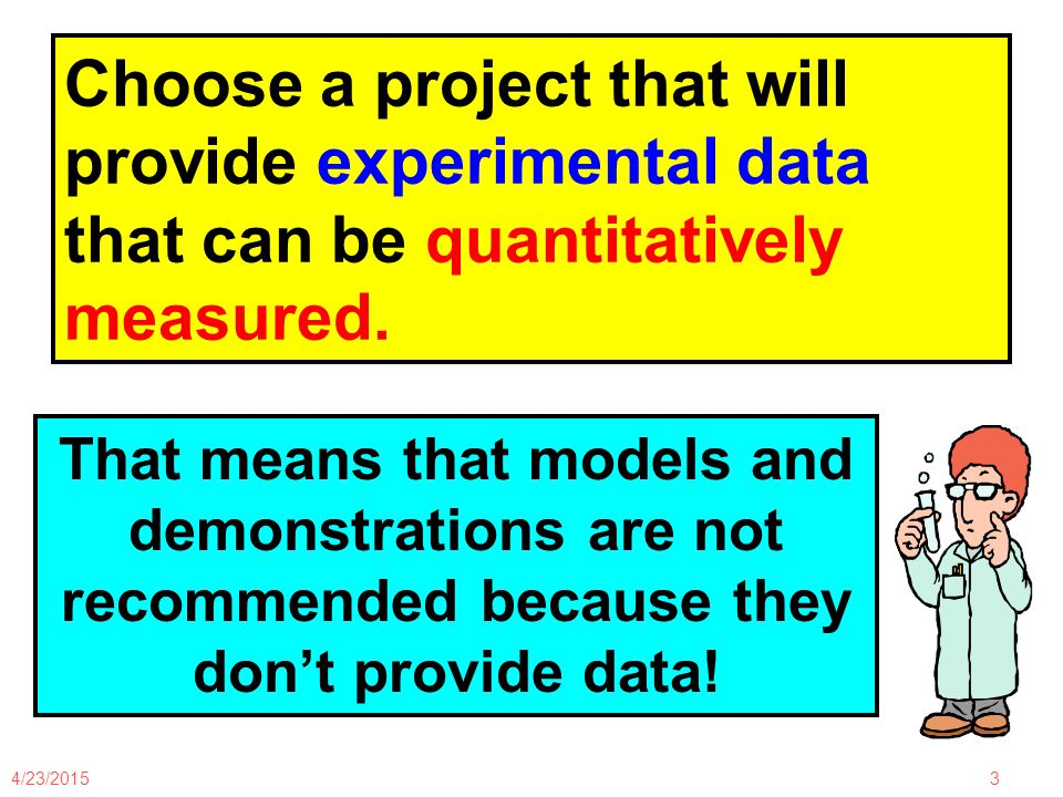 4/23/201524 Experimental Design: Steps for Scientific Method