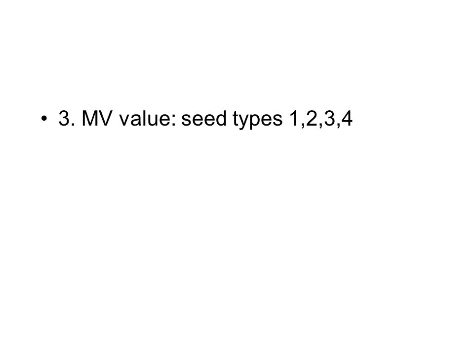 3. MV value: seed types 1,2,3,4