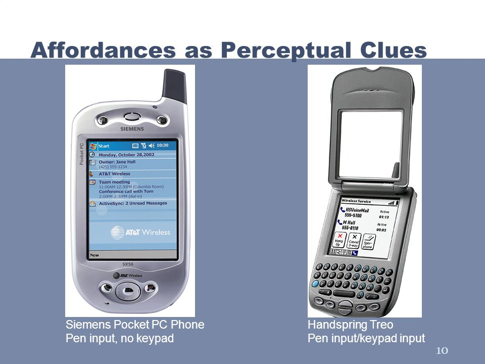 10 Affordances as Perceptual Clues Siemens Pocket PC Phone Pen input, no keypad Handspring Treo Pen input/keypad input