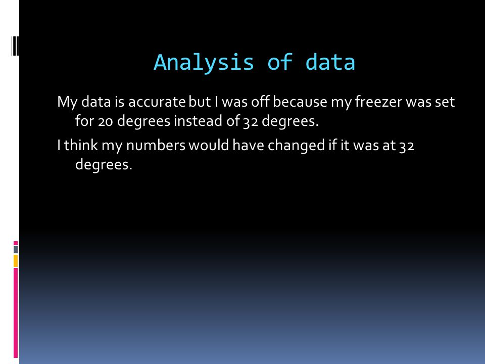 Analysis of data My data is accurate but I was off because my freezer was set for 20 degrees instead of 32 degrees.