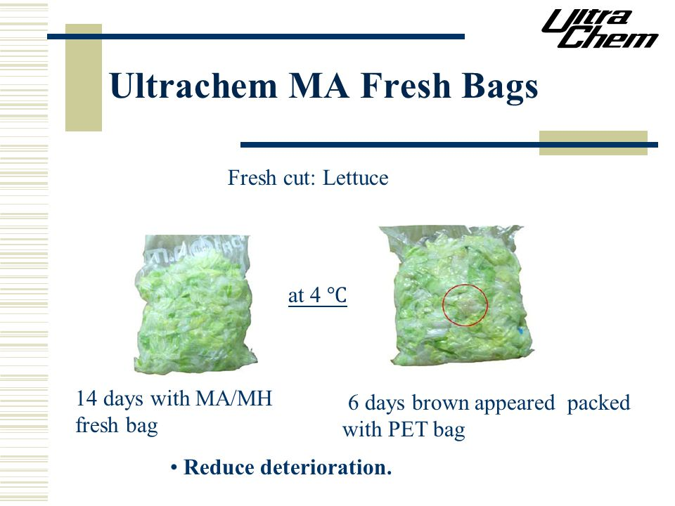Ultrachem MA Fresh Bags at 4 ℃ 14 days with MA/MH fresh bag 6 days brown appeared packed with PET bag Reduce deterioration.
