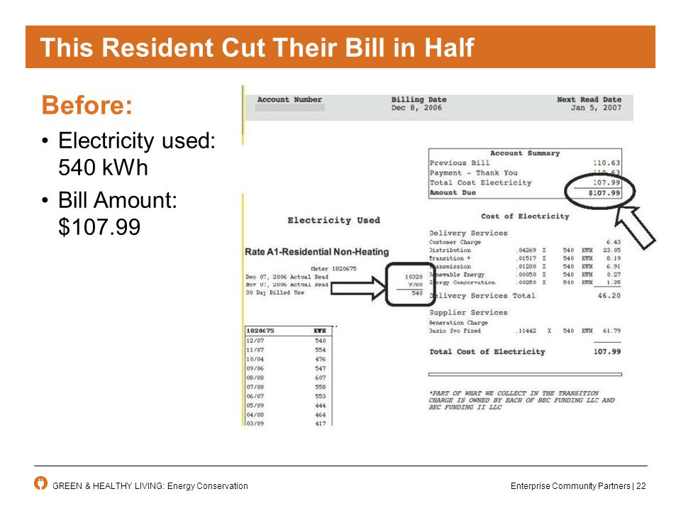 Enterprise Community Partners | 22GREEN & HEALTHY LIVING: Energy Conservation This Resident Cut Their Bill in Half Before: Electricity used: 540 kWh Bill Amount: $107.99
