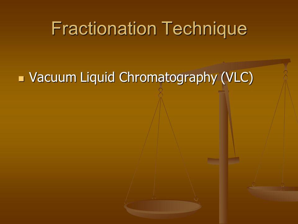Fractionation Technique Vacuum Liquid Chromatography (VLC) Vacuum Liquid Chromatography (VLC)