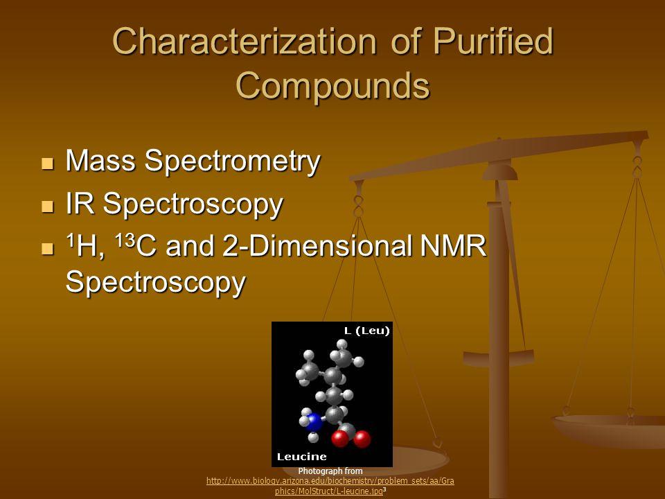 Characterization of Purified Compounds Mass Spectrometry Mass Spectrometry IR Spectroscopy IR Spectroscopy 1 H, 13 C and 2-Dimensional NMR Spectroscop