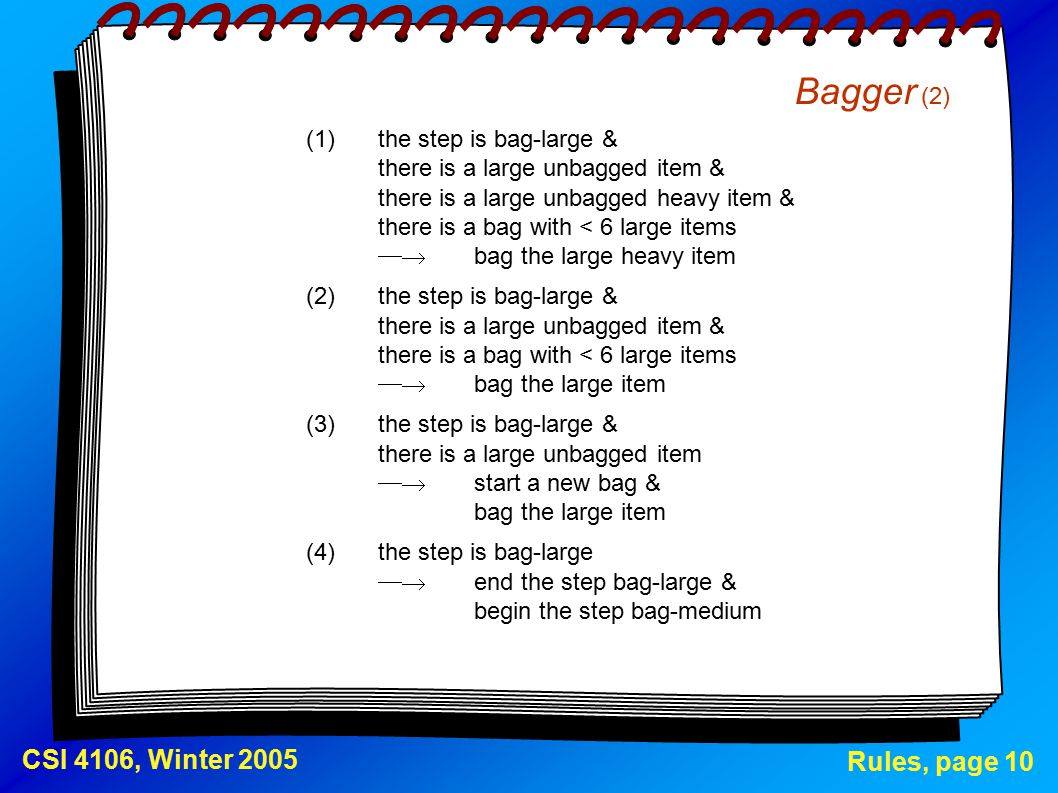 Rules, page 10 CSI 4106, Winter 2005 Bagger (2) (1)the step is bag-large & there is a large unbagged item & there is a large unbagged heavy item & there is a bag with < 6 large items  bag the large heavy item (2)the step is bag-large & there is a large unbagged item & there is a bag with < 6 large items  bag the large item (3)the step is bag-large & there is a large unbagged item  start a new bag & bag the large item (4)the step is bag-large  end the step bag-large & begin the step bag-medium