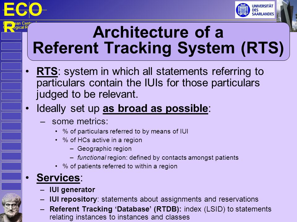 ECO R European Centre for Ontological Research Essentials of Referent Tracking Generation of universally unique identifiers; deciding what particulars should receive a IUI; finding out whether or not a particular has already been assigned a IUI (each particular should receive maximally one IUI); using IUIs in the EHR, i.e.