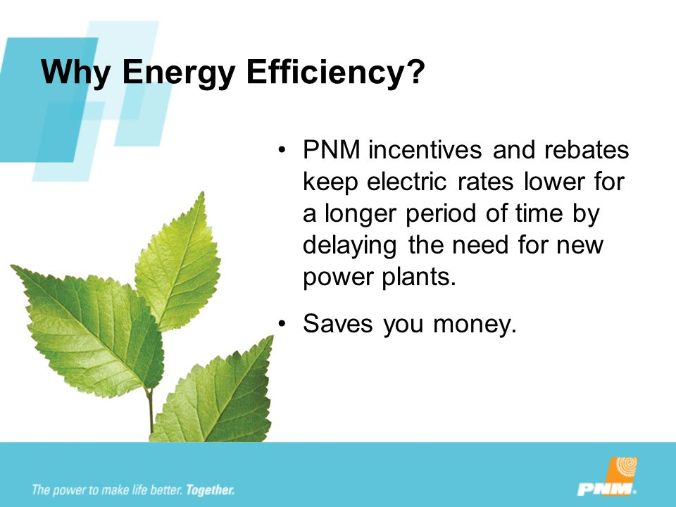 Why Energy Efficiency? PNM incentives and rebates keep electric rates lower for a longer period of time by delaying the need for new power plants. Sav