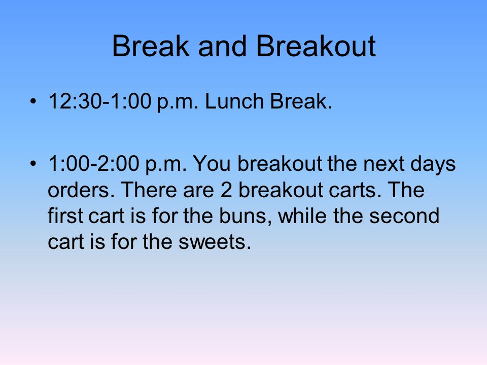 Break and Breakout 12:30-1:00 p.m. Lunch Break. 1:00-2:00 p.m.