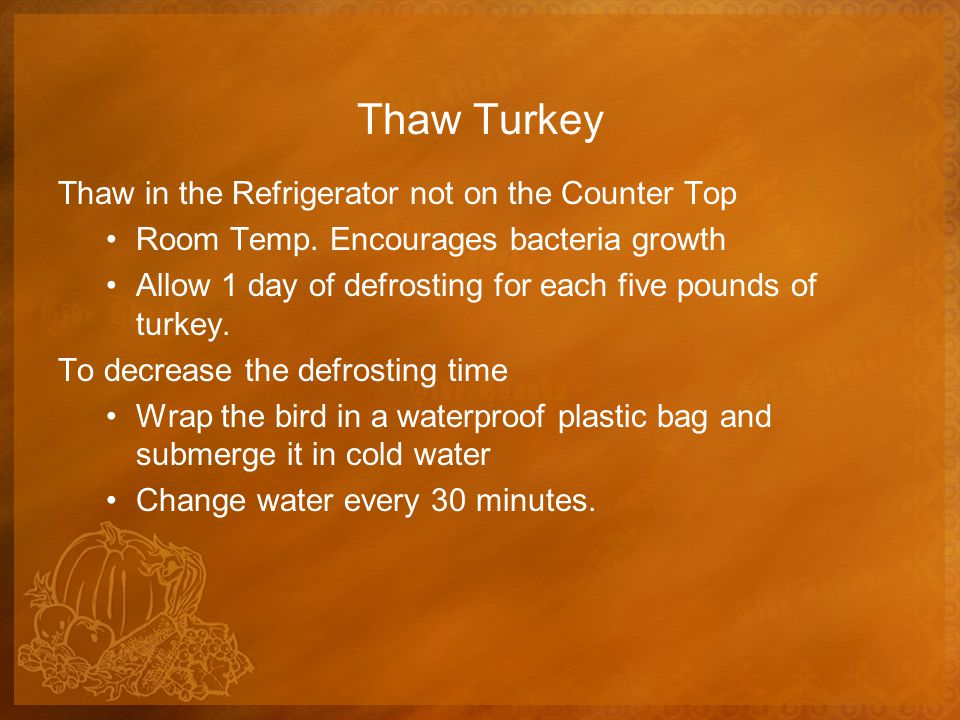 Thaw Turkey Thaw in the Refrigerator not on the Counter Top Room Temp.