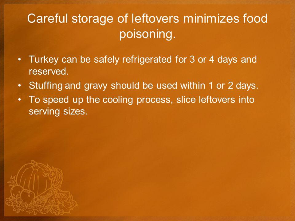 Careful storage of leftovers minimizes food poisoning.
