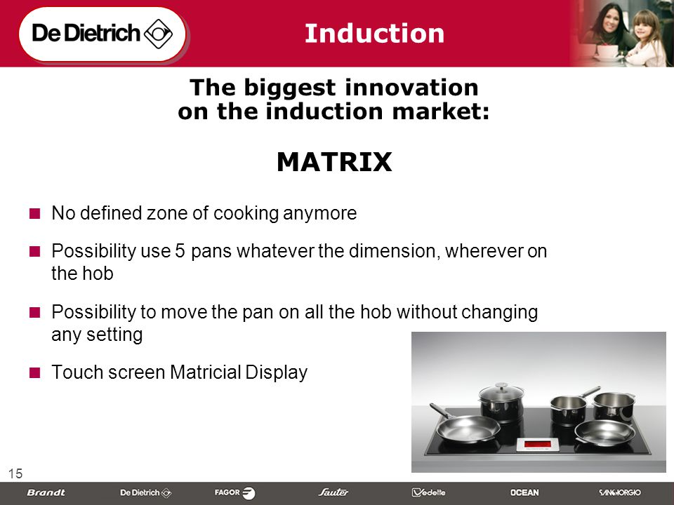 15 Induction The biggest innovation on the induction market: MATRIX  No defined zone of cooking anymore  Possibility use 5 pans whatever the dimension, wherever on the hob  Possibility to move the pan on all the hob without changing any setting  Touch screen Matricial Display