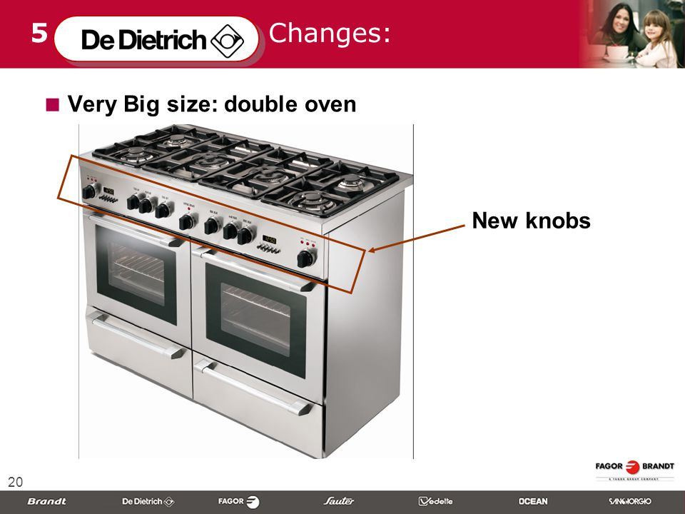 20 5 Changes:  Very Big size: double oven New knobs