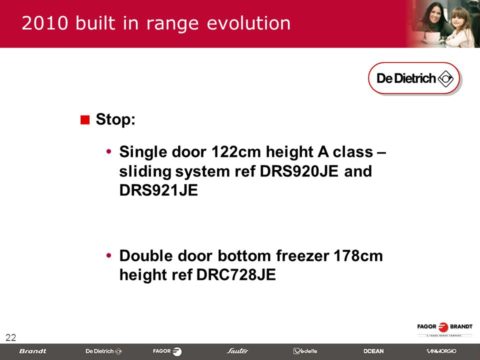 22  Stop:  Single door 122cm height A class – sliding system ref DRS920JE and DRS921JE  Double door bottom freezer 178cm height ref DRC728JE 2010 built in range evolution