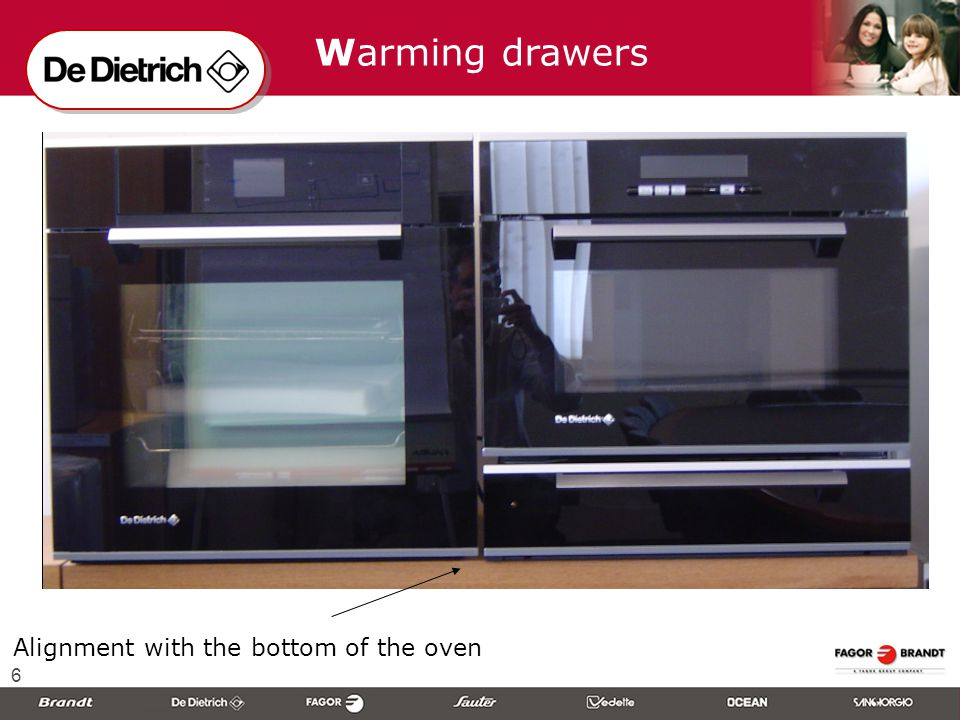 6 Alignment with the bottom of the oven Warming drawers
